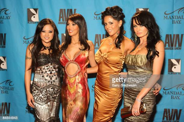 Adult Film Stars Wicked Pictures Group arrive on the red carpet at the 2009 AVN Awards Show at the Sands Expo Convention Center on January 10 2009 in...