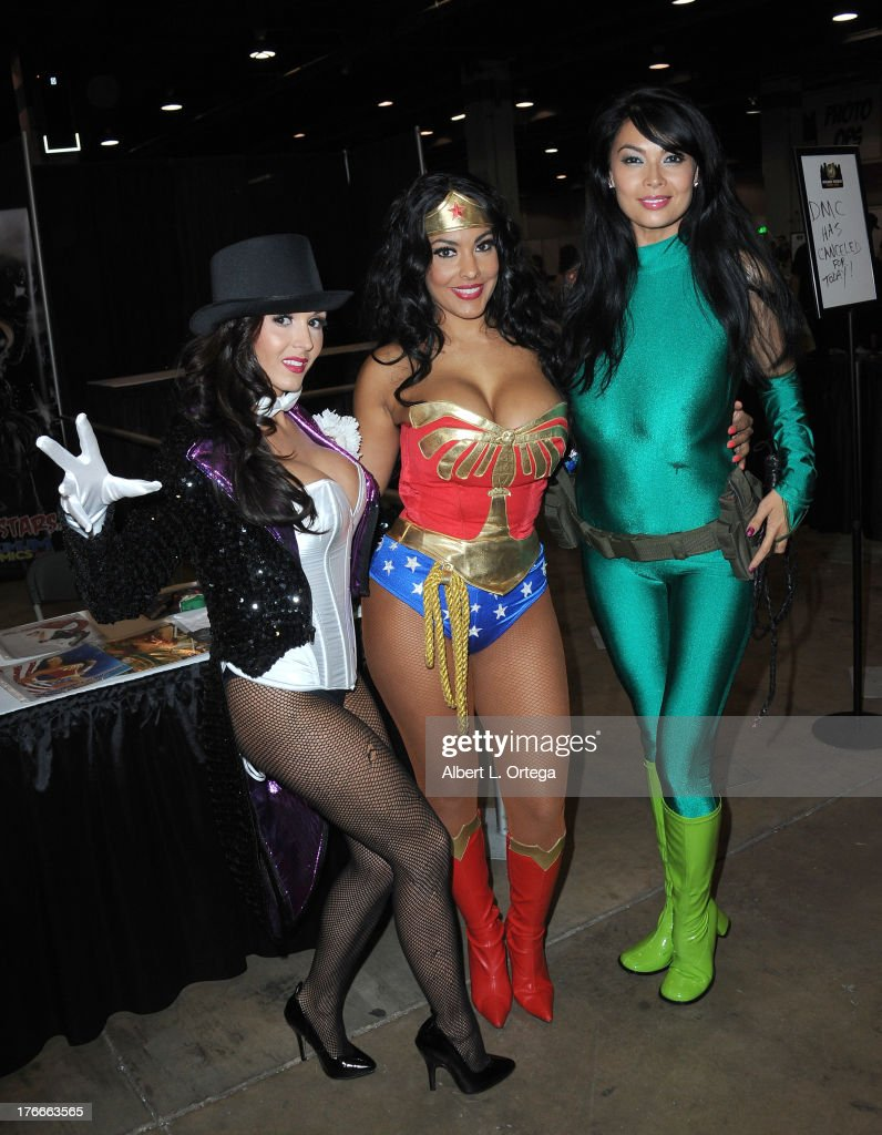 Adult film stars/cosplayers Taya Parker, Nina Mercedes and Tera Patrick attend Day 1 Wizard World Chicago Comic Con held at Donald E. Stephens Convention Center on August 9, 2013 in Rosemont, Illinois.