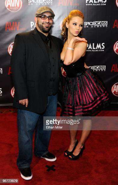 Adult film writer/director Lee Roy Myers and adult film actress Ashlynn Brooke arrive at the 27th annual Adult Video News Awards Show at the Palms...