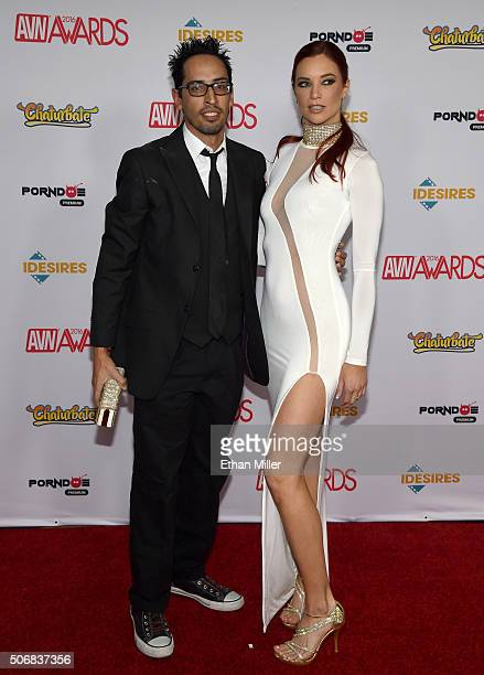 Adult filmmaker Adam Tarantino and adult film actress Jayden Cole attend the 2016 Adult Video News Awards at the Hard Rock Hotel Casino on January 23...