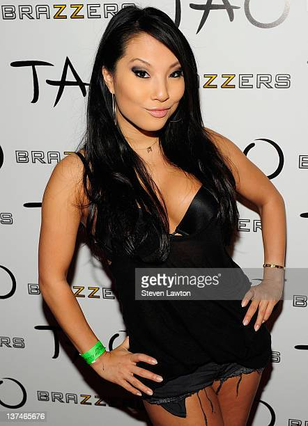 Adult flim star Asa Akira arrives for Brazzers party at the Tao Nightclub at the Venetian Resort Hotel Casino on January 20, 2012 in Las Vegas,...