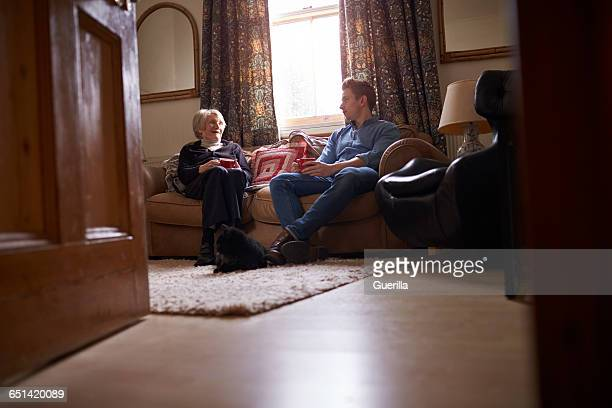 Adult Grandson Visiting Grandmother At Home