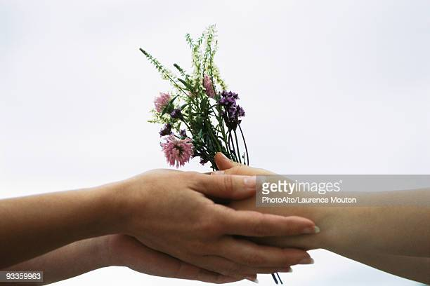 Adult handing young person bouquet of wildflowers, close-up