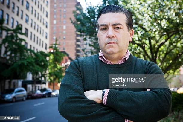 Adult Italian American Man Portrait Crossing Arms on City Sidewalk