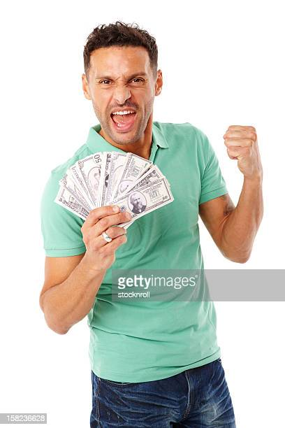 Adult male holding a stack of money.