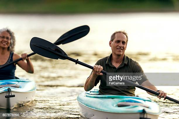 Adult male paddling in his kayak