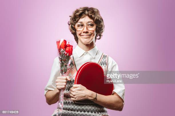 adult nerd woman looking for love - kitsch stock pictures, royalty-free photos & images