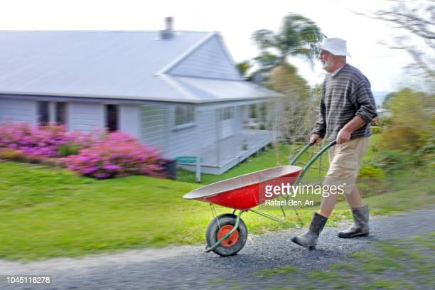 adult senior man pushing an empty wheel barrel - rafael ben ari imagens e fotografias de stock