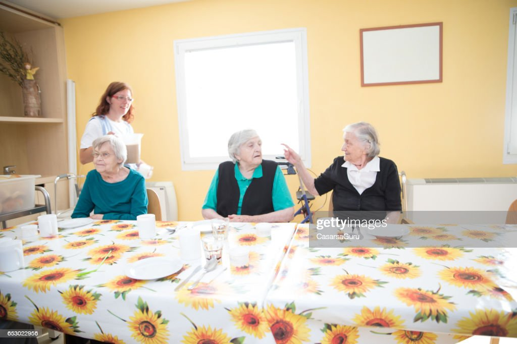 Adult Seniors Having Breakfast At The Care Center : Stock Photo