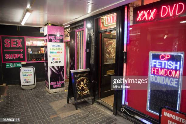 Adult sex shop in Soho central London United Kingdom In Walkers Court this seedy alley there were once sex shops DVD shops live sex shows and all...