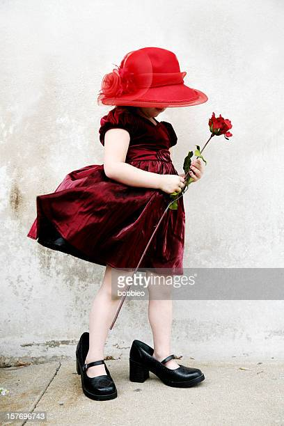 Adult Shoe Children: Little girl in dress with rose