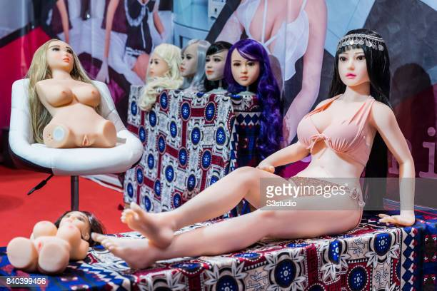 Adult silicon made sex dolls are displayed during the Asia Adult Expo 2017 at the Hong Kong Convention and Exhibition Centre on 29 August 2017 in...