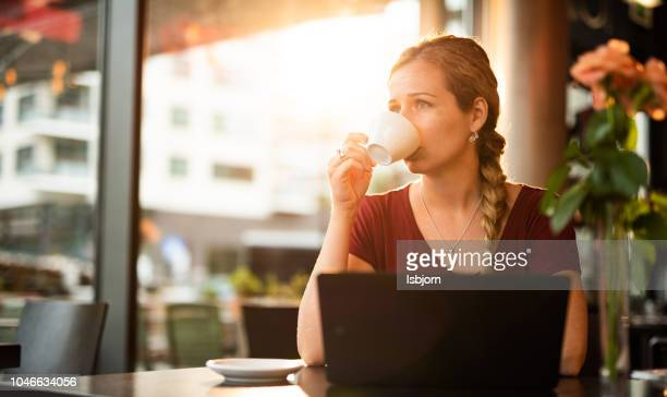 Adult student having a coffee break.