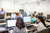 adult students using computers computer lab