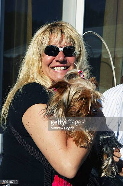 Adult TV hostess Robin Byrd and Om The Wonderdog attend Jason Binn's Hamptons Magazine Memorial Day Weekend Party at his private home on May 29 2004...