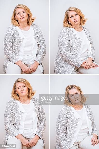adult woman composite with annoyed facial expression - blond mollig frau stock-fotos und bilder