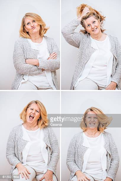 adult woman composite with bizare facial expression - fat woman funny stock photos and pictures