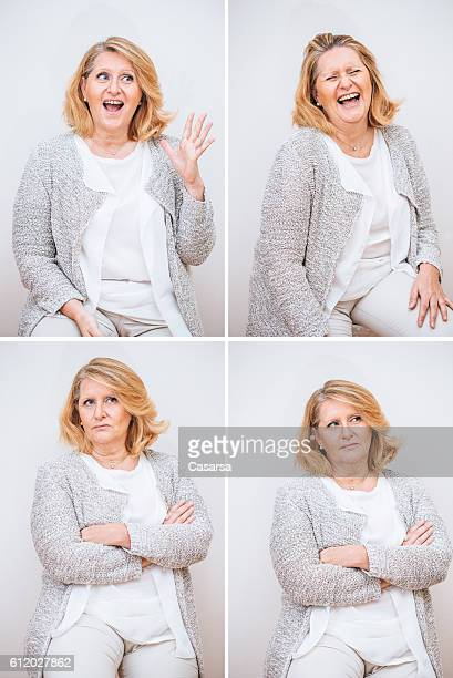 adult woman composite with excited vs uncertain facial expression - fat blonde women stock photos and pictures