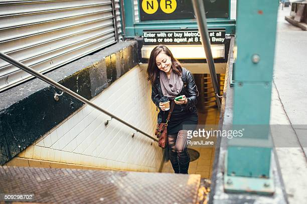 Adult Woman Leaving Subway Station
