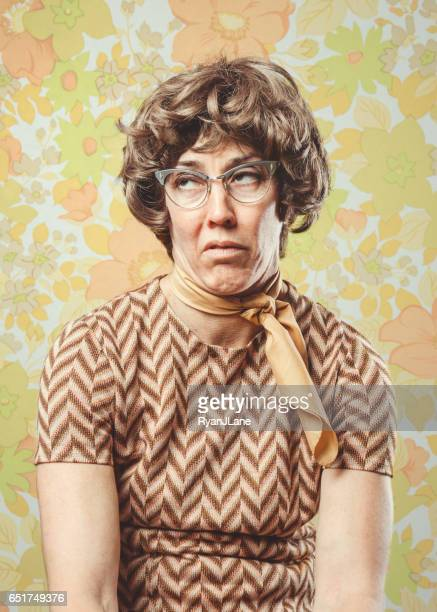 adult woman retro seventies style - negative emotion stock pictures, royalty-free photos & images