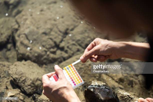 adult woman using litmus test to measure ph value of water in nature - stock photo - ph value stock pictures, royalty-free photos & images