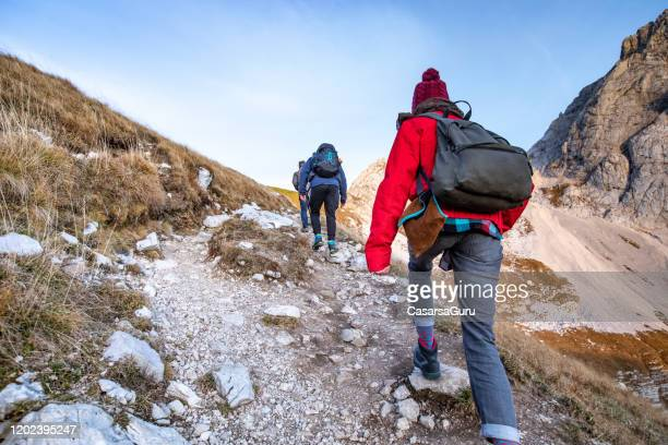 adult women and men hiking in mountains - stock photo - following stock pictures, royalty-free photos & images