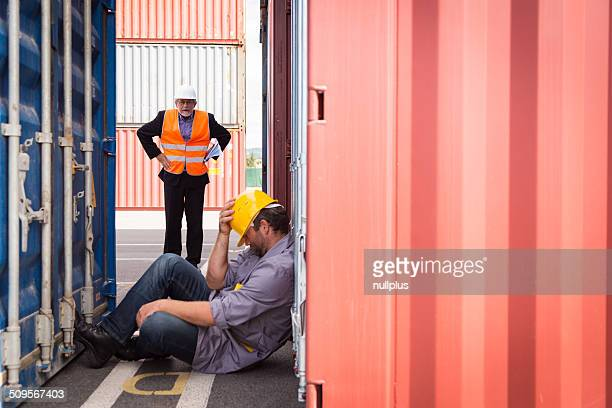 adult worker in large container port, sleeping - drunk stock pictures, royalty-free photos & images