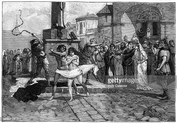 Adulterers being whipped in public France 8th century A print from La France et les Français à Travers les Siècles Volume I F Roy editor SaintAntoine...