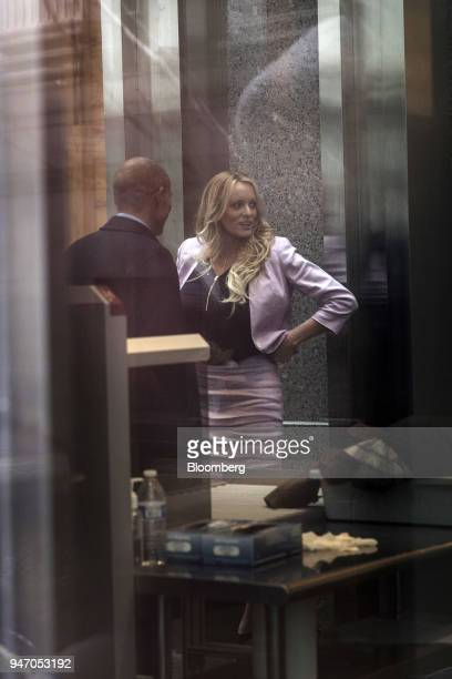 Adultfilm actress Stormy Daniels and attorney Michael Avenatti arrive at Federal Court in New York US on Monday April 16 2018 Daniels claims she had...