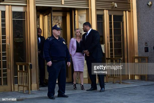 Adultfilm actress Stormy Daniels exits from Federal Court in New York US on Monday April 16 2018 Daniels claims she had sex with Donald Trump in 2006...