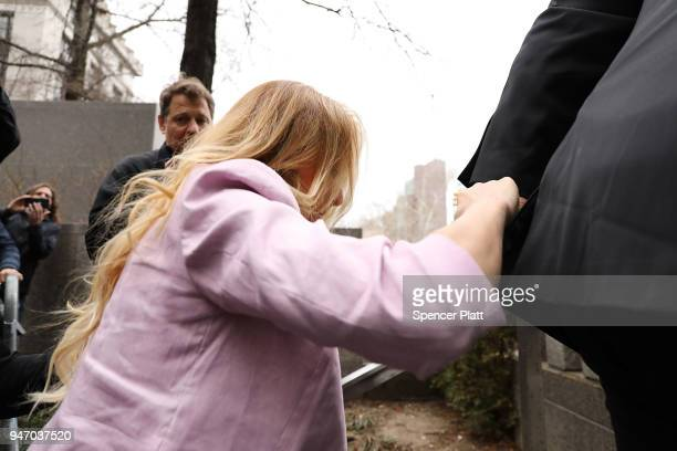 Adultfilm actress Stormy Daniels whose real name is Stephanie Clifford arrives at a court hearing where President Donald Trump's longtime personal...