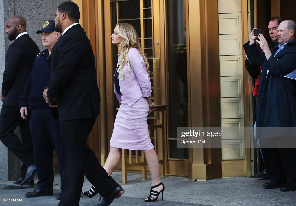 Adult-film actress Stormy Daniels, whose real name is Stephanie Clifford, exits court where President Donald Trump's long-time personal attorney Michael Cohen is attending a court hearing on April 16, 2018 in New York City. Trump's lawyers on Sunday night asked a federal judge to temporarily block prosecutors from reviewing files seized by the FBI from Cohen's offices and hotel room last week. Trump's lawyers have argued that many of the documents are protected by attorney-client privilege.