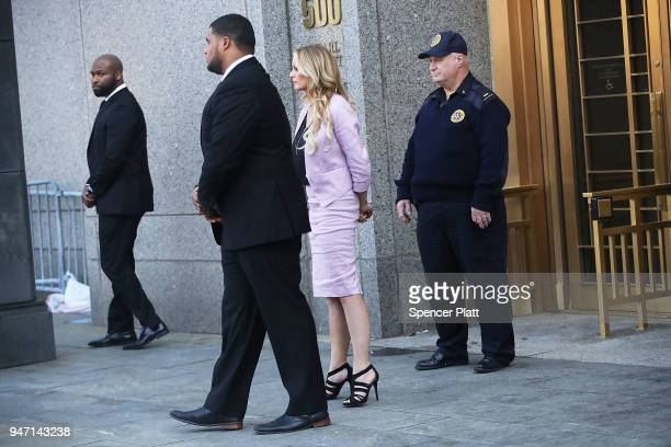 Adultfilm actress Stormy Daniels whose real name is Stephanie Clifford exits court where President Donald Trump's longtime personal attorney Michael...