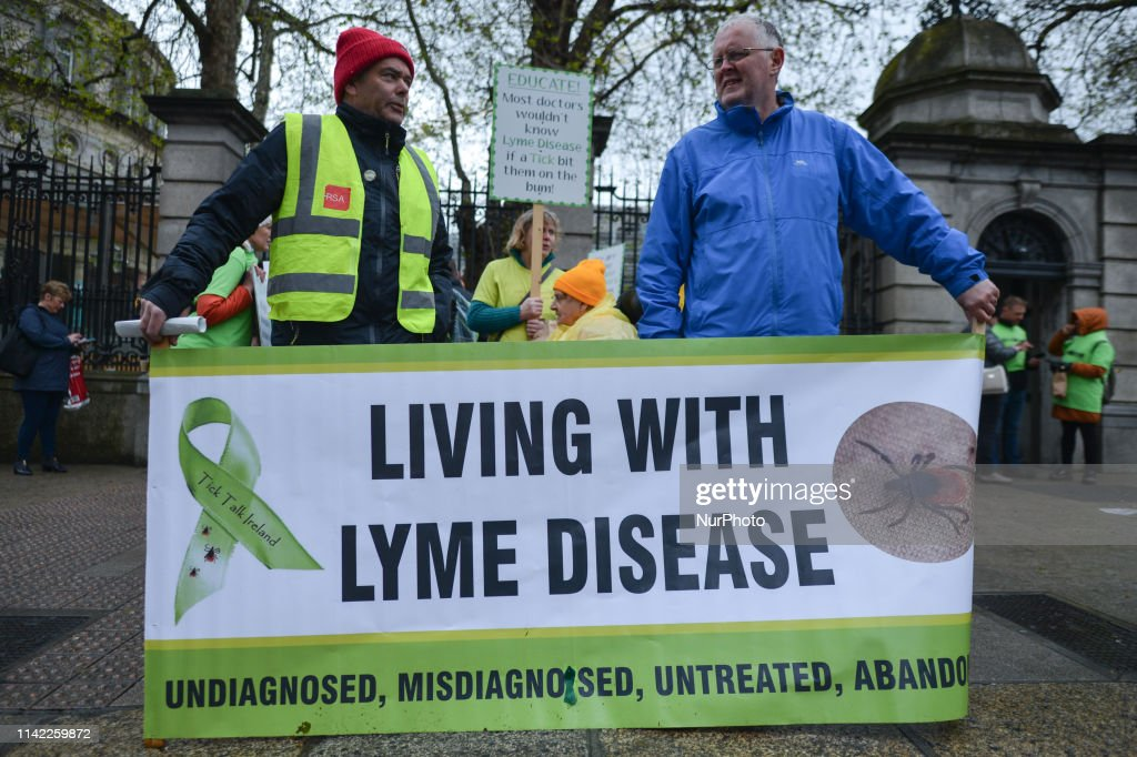 Affected By Lyme Disease Hold Rally Outside The Irish Parliament : News Photo