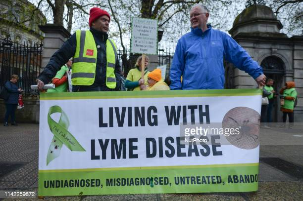 Adults affected by Lyme Disease hold rally outside the Irish Parliament to highlight the condition as well as its lack of recognition by health and...