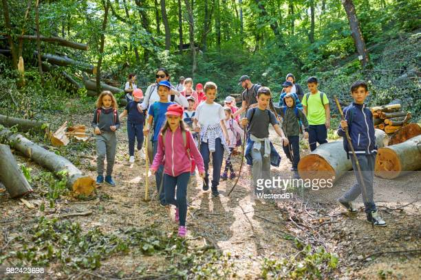 adults and kids on a field trip in forest - field trip stock pictures, royalty-free photos & images