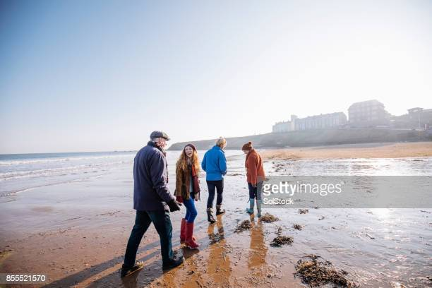 adults on the beach during winter - two generation family stock photos and pictures