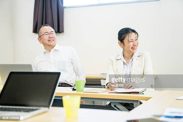 Adults students enjoying a training seminar or further education