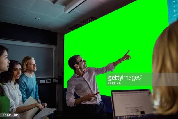 Adults Viewing a Large Display Green Screen