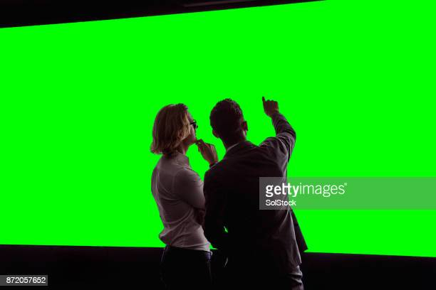 Adults Viewing a Large Green-Screen