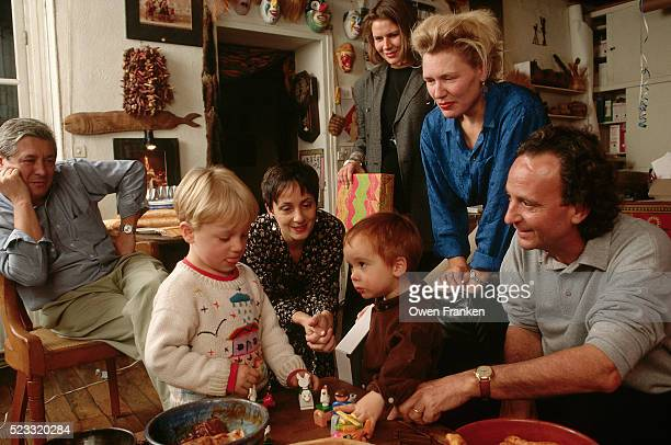 adults watch children play at birthday party - happy birthday vintage stockfoto's en -beelden