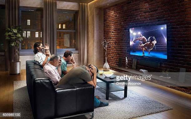 Adults watching Boxing at home