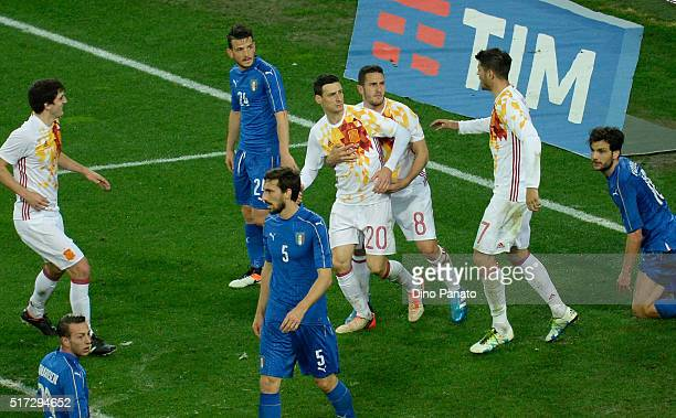 Aduriz Zubeldia Aritz of Spain celebrates after scoring his team's frst goa during the international friendly match between Italy and Spain at Stadio...