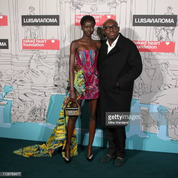 Adut Akech and Edward Enninful arrive at the Fabulous Fund Fair event during London Fashion Week February 2019 at the The Roundhouse on February 18...