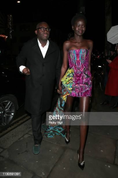 Adut Akech and Edward Enninful seen attending London Fabulous Fund Fair at Roundhouse during LFW February 2019 on February 18 2019 in London England