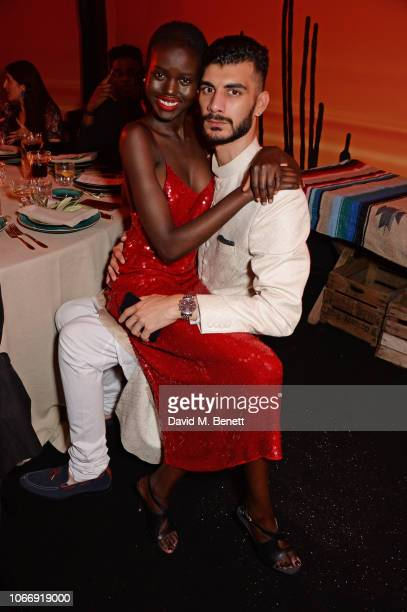 Adut Akech and Shahmir Sanni attend the gala dinner in honour of Stella McCartney winner of the Global VOICES Award for 2018 during #BoFVOICES on...