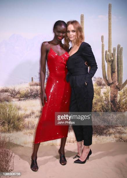 Adut Akech and Stella McCartney attend the gala dinner in honour of Stella McCartney winner of the Global VOICES Award for 2018 during #BoFVOICES on...