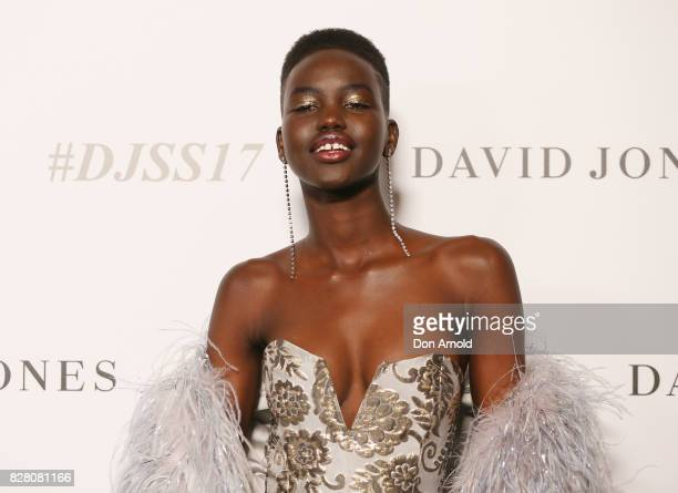 Adut Akech arrives ahead of the David Jones Spring Summer 2017 Collections Launch at David Jones Elizabeth Street Store on August 9 2017 in Sydney...