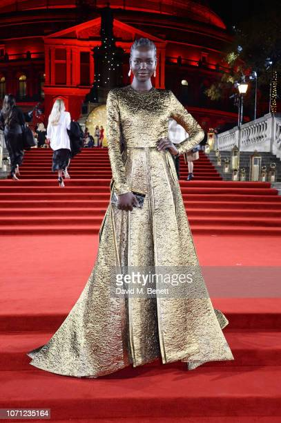 Adut Akech arrives at The Fashion Awards 2018 in partnership with Swarovski at the Royal Albert Hall on December 10 2018 in London England