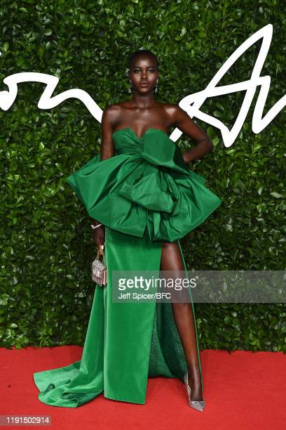 Adut Akech arrives at The Fashion Awards 2019 held at Royal Albert Hall on December 02, 2019 in London, England.